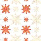 Teste padrão sem emenda no estilo indiano Os lótus abstratos e protagonizam em cores vermelhas com contornos do ouro em um fundo  ilustração do vetor