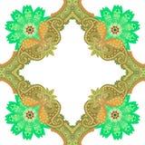 Teste padrão sem emenda no estilo oriental com ornamento de paisley e flores das mandalas no fundo branco Azulejo, c?pia para a t ilustração do vetor
