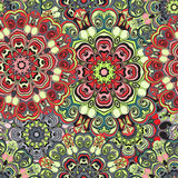Teste padrão sem emenda no estilo oriental, envolver-papel colorido com ornamento das mandalas Design floral ou turco, árabe Imagem de Stock