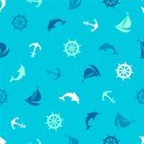 Teste padrão sem emenda no tema marinho Âncora, golfinho, dirigindo Imagens de Stock Royalty Free