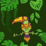 Teste padrão sem emenda no verde, teste padrão repetido Backround dos tucanos tropicais dos pássaros da floresta úmida folhas tro ilustração stock