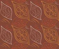 Teste padrão sem emenda ornamentado com as folhas Ilustração do vetor Fotografia de Stock