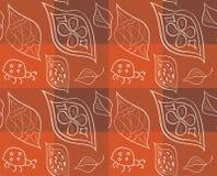 Teste padrão sem emenda ornamentado com as folhas Ilustração do vetor Foto de Stock Royalty Free