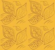 Teste padrão sem emenda ornamentado com as folhas Ilustração do vetor Imagem de Stock Royalty Free
