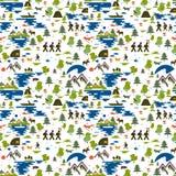 Teste padrão sem emenda Os ícones do turismo na natureza, a família vão em uma caminhada, ecoturismo, um pescador em um barco, na ilustração royalty free