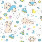 Teste padrão sem emenda para bebés. ilustração do vetor