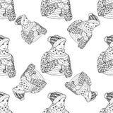 Teste padrão sem emenda para o projeto de matéria têxtil da cópia ou o envolvimento de papel Doodles do Feliz Natal Fotos de Stock Royalty Free