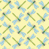 Teste padrão sem emenda para o projeto de matéria têxtil, papel de parede do vetor da libélula, papel de envolvimento Imagens de Stock Royalty Free