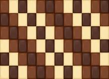 Teste padrão sem emenda Partes realísticas da barra de chocolate Leite, obscuridade, Wh Fotos de Stock Royalty Free