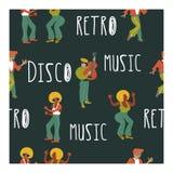 Teste padrão sem emenda Partido retro Poster do vetor Ilustração retro do estilo Música e dança no estilo retro Músicos e dançari ilustração stock