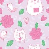 Teste padrão sem emenda pastel da flor do pássaro do gato Fotografia de Stock