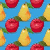 Teste padrão sem emenda Peras amarelas maduras e maçãs vermelhas Fotografia de Stock Royalty Free