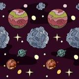 Teste padrão sem emenda Planetas, estrelas e asteroides no fundo roxo Imagem de Stock Royalty Free