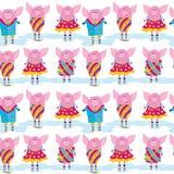 Teste padrão sem emenda - porcos Foto de Stock Royalty Free