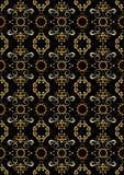 Teste padrão sem emenda preto com flores alaranjadas e espirais de prata. Fotos de Stock Royalty Free