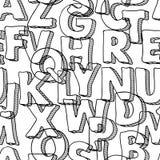 Teste padrão sem emenda preto com letras do alfabeto Imagens de Stock