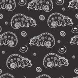 Teste padrão sem emenda preto e branco com camaleão Fotos de Stock