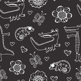 Teste padrão sem emenda preto e branco com crocodilos Imagens de Stock