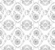 Teste padrão sem emenda preto e branco com flores Fundo floral desenhado mão Fotografia de Stock