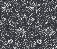 Teste padrão sem emenda preto e branco com os fogos de artifício tirados mão Fundo infinito do vetor monocromático do feriado ilustração stock