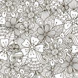 Teste padrão sem emenda preto e branco da garatuja floral Fotos de Stock Royalty Free