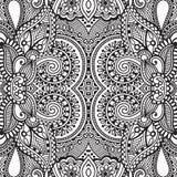 Teste padrão sem emenda preto e branco, desenho da mão ilustração stock