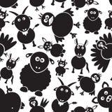 Teste padrão sem emenda preto e branco simples eps10 dos animais de exploração agrícola Imagens de Stock Royalty Free
