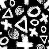 Teste padrão sem emenda preto e branco tirado mão com figuras diferentes ilustração stock