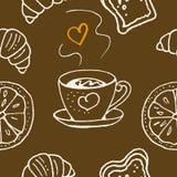 Teste padrão sem emenda Produtos da xícara de café e da padaria ilustração stock