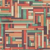 Teste padrão sem emenda quadrado retro com efeito do grunge Imagens de Stock
