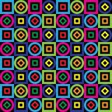 Teste padrão sem emenda Quadrados, círculos, diamantes em um fundo preto Vetor Imagens de Stock Royalty Free