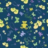 Teste padrão sem emenda recém-nascido bonito Fundo do bebê com manequim do bebê, sapatinhos de lã, urso Imagens de Stock