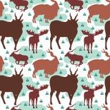 Teste padrão sem emenda repetível de cervos Horned Buck Stag ilustração royalty free