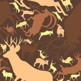 Teste padrão sem emenda repetível de cervos Horned Buck Stag ilustração stock