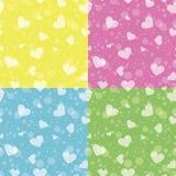 Teste padrão sem emenda retro com corações coloridos Foto de Stock