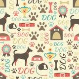 Teste padrão sem emenda retro de ícones do cão infinito Imagens de Stock Royalty Free