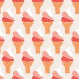 Teste padrão sem emenda retro do vetor dos cones de gelado ilustração do vetor