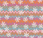 Teste padrão sem emenda retro dos flocos de neve Imagens de Stock Royalty Free