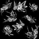 Teste padrão sem emenda Risque flores brancas tiradas do estilo no fundo preto liso ilustração do vetor