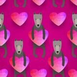 Teste padrão sem emenda romântico com corações e cães Fundo feito Fotografia de Stock