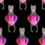 Teste padrão sem emenda romântico com corações e cães Fundo feito Fotos de Stock Royalty Free