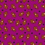 Teste padrão sem emenda romântico com hipopótamos pequenos Fotos de Stock Royalty Free