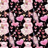 Teste padrão sem emenda romântico da aquarela para o dia de Valentim com ursos de peluche, garrafa do vinho, letra, balões e cora ilustração royalty free