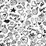 Teste padrão sem emenda romântico da garatuja do vetor Aquarela preto e branco, fundo do dia de Valentim da tinta Fotos de Stock Royalty Free