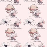 Teste padrão sem emenda running da avestruz e do canguru do encaixotamento ilustração royalty free