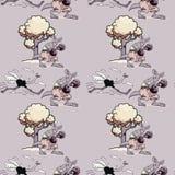 Teste padrão sem emenda running da avestruz e do canguru do encaixotamento ilustração stock