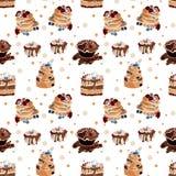 Teste padrão sem emenda saboroso com os bolos no vetor ilustração stock