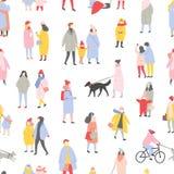 Teste padrão sem emenda sazonal com os homens, as mulheres minúsculas e as crianças vestidos na roupa do inverno andando na rua d ilustração stock