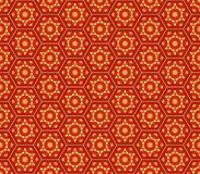 Teste padrão sem emenda sextavado vermelho do amarelo alaranjado do estilo de Médio Oriente ilustração stock