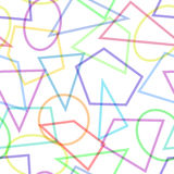 Teste padrão sem emenda simples com círculos, triângulos e polígono Fotografia de Stock Royalty Free